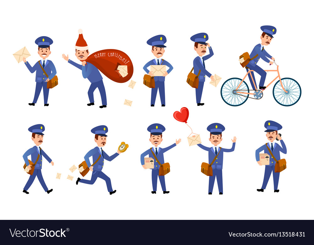 Postman characters with bags and on bike set vector image