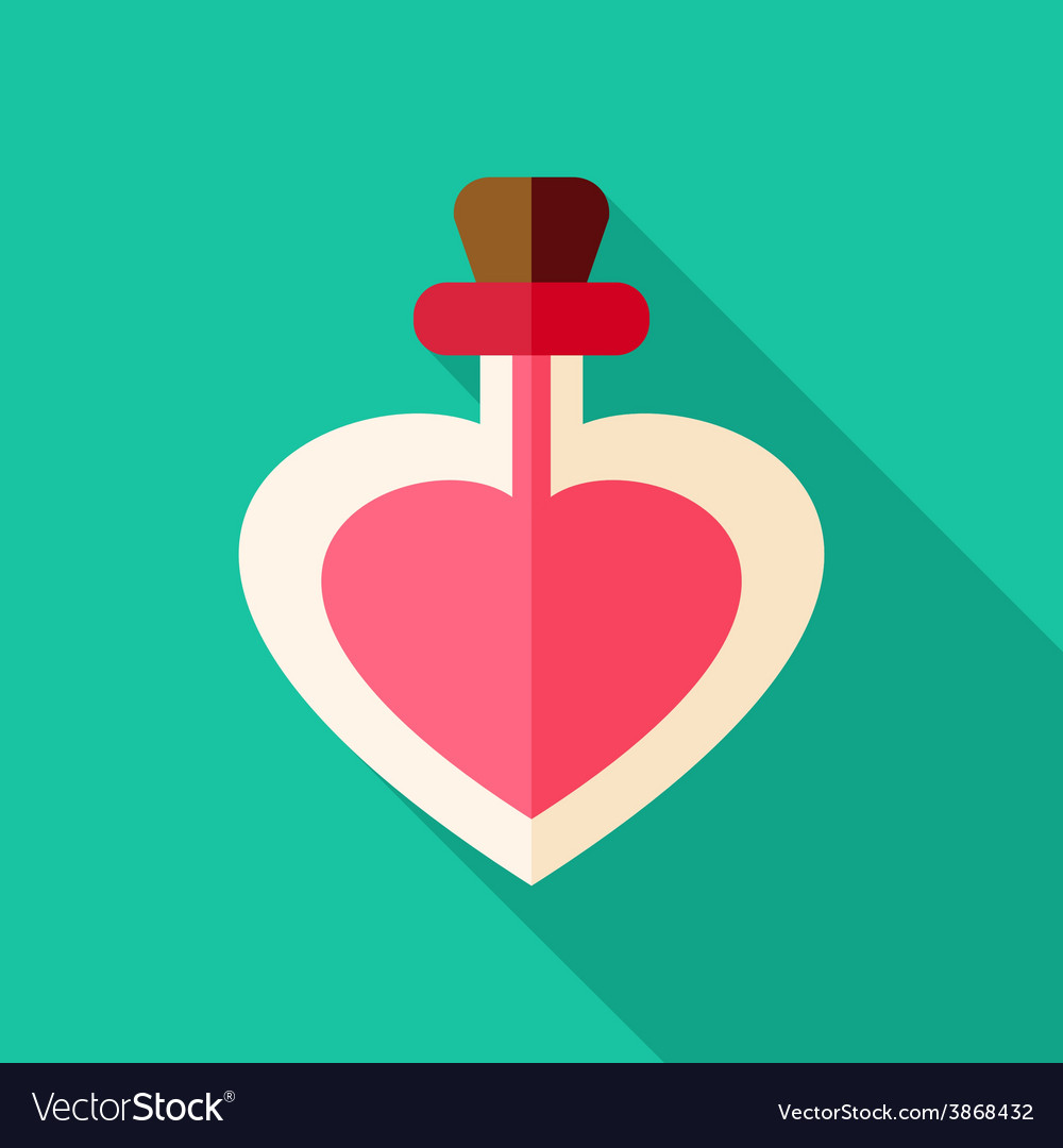 Love poison bottle with heart shape vector image