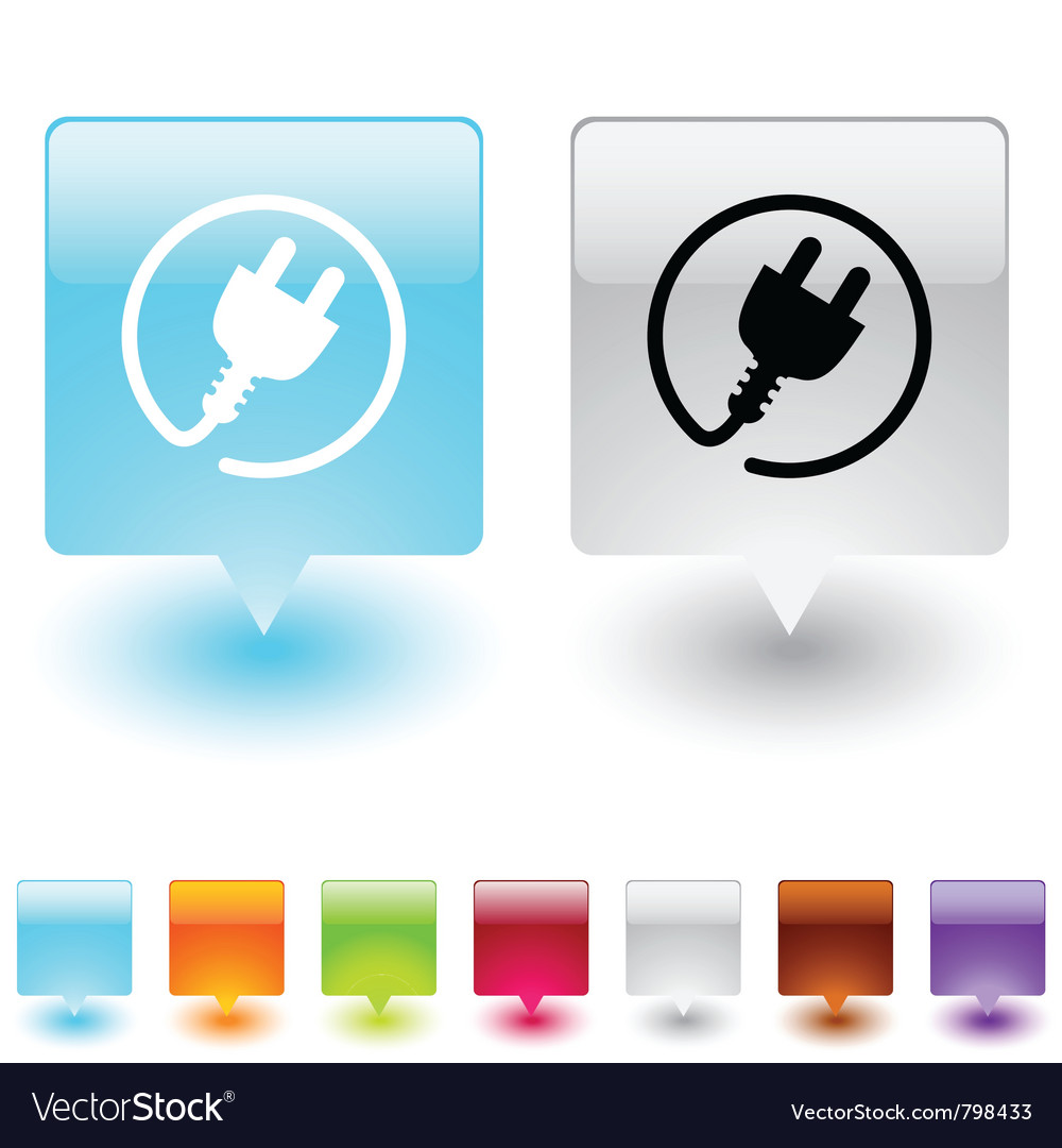Power plug square button vector image