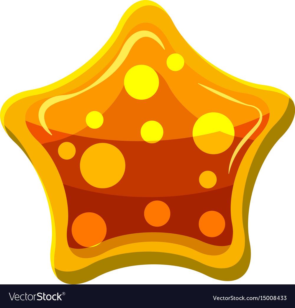 Orange star shaped candy icon cartoon style vector image