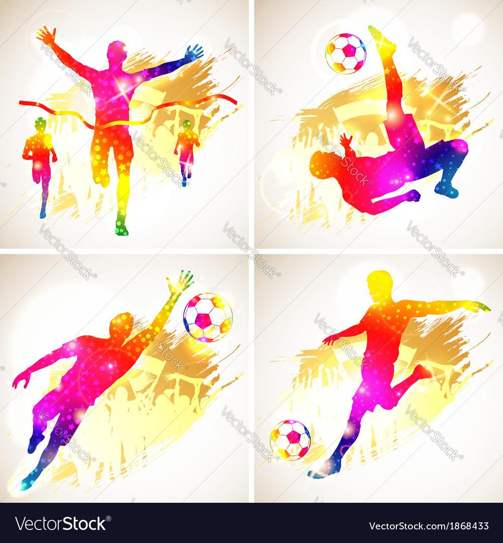 Soccer and Winner Silhouette vector image
