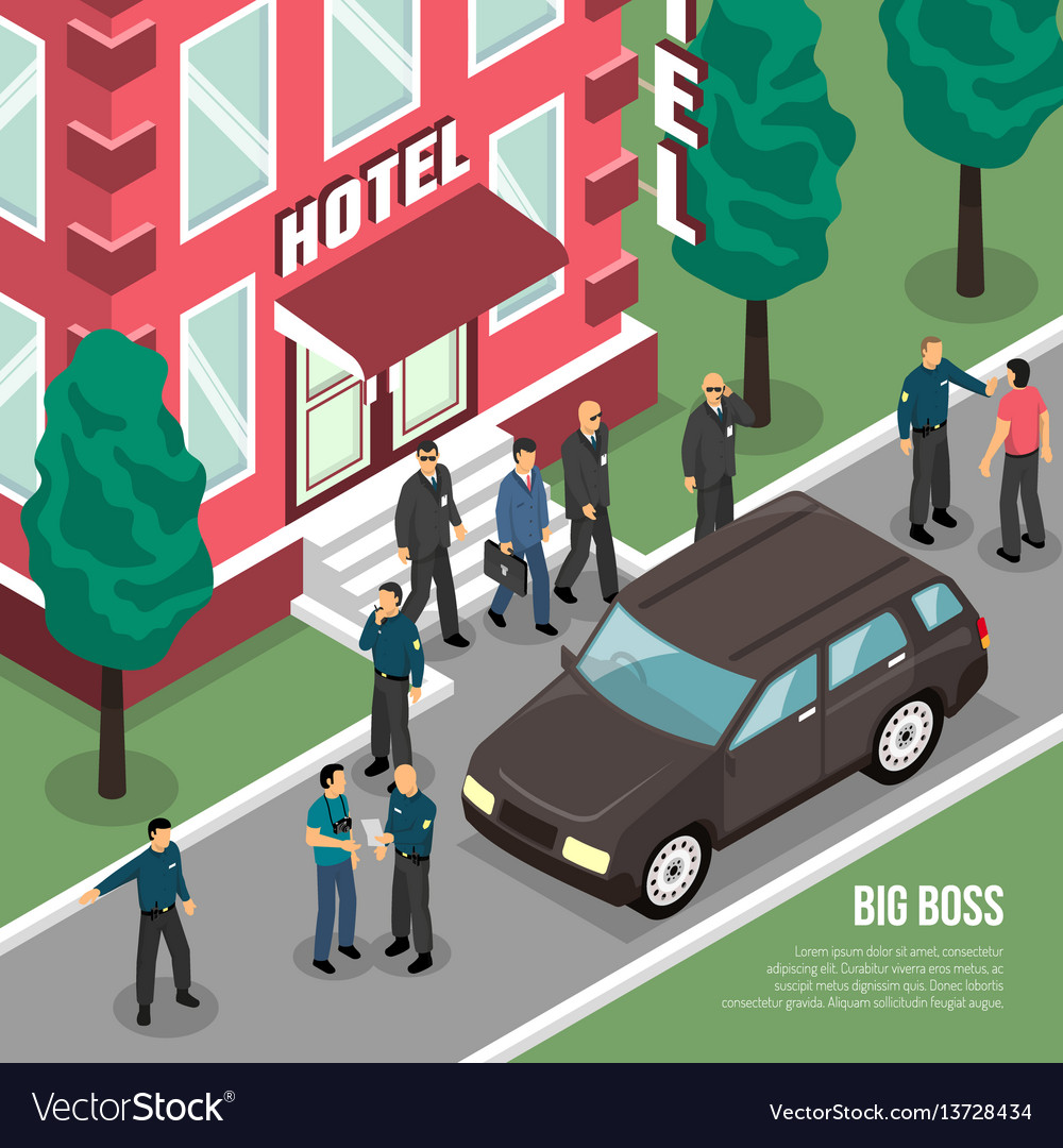 Big boss with security isometric vector image