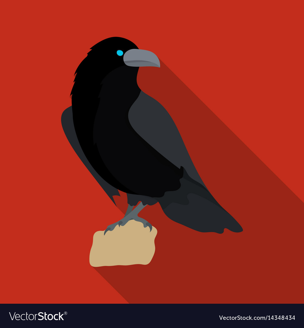 Crow of viking god icon in flate style isolated on vector image