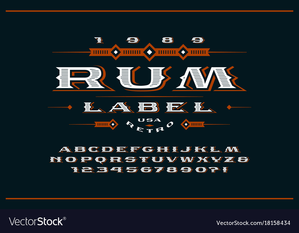 Ornate serif extended font in retro style vector image