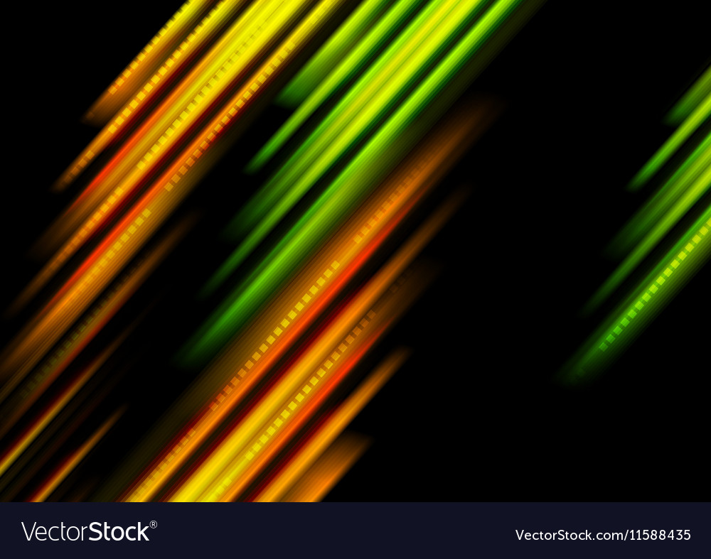 Glowing green and orange stripes background vector image