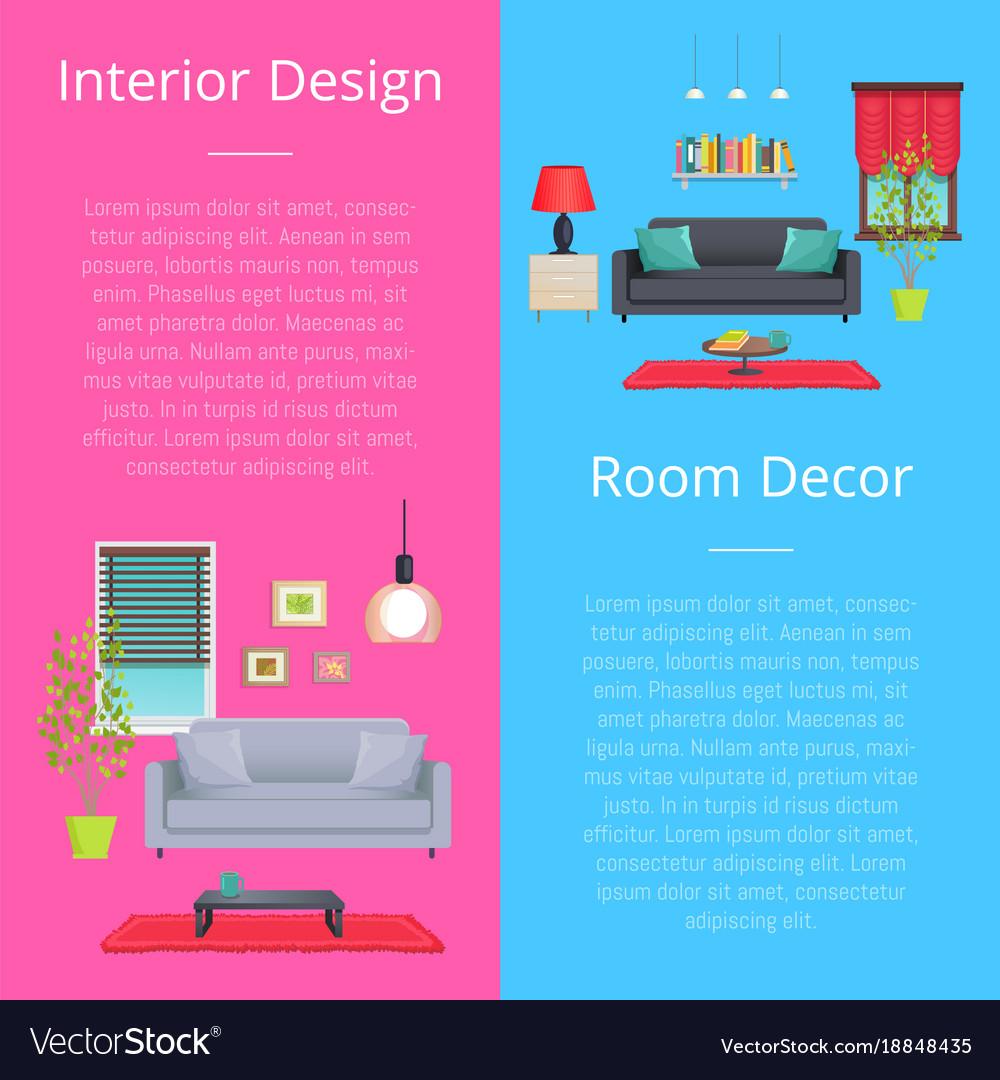 Interior design and room decor vector image