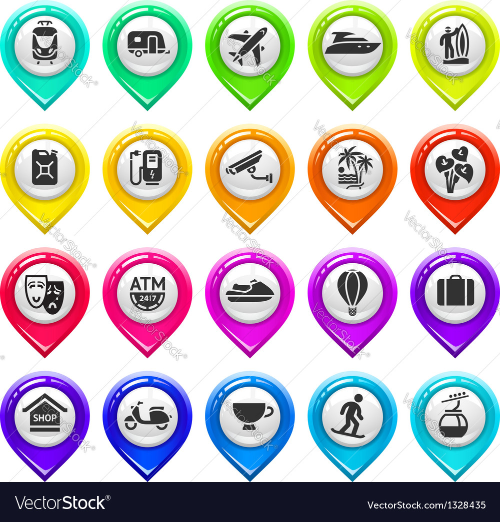 Map marker with icons-set five vector image