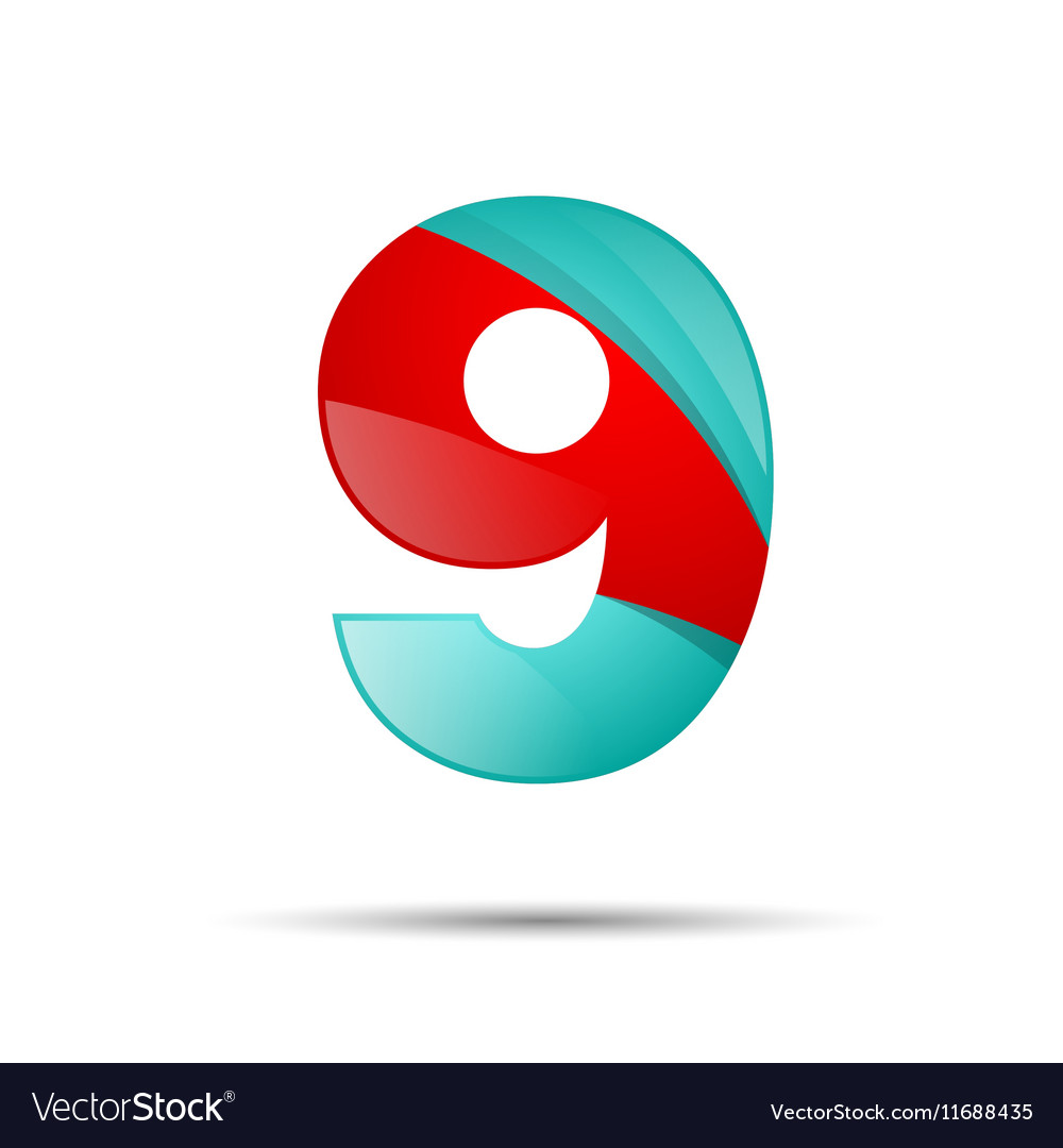 Number nine 9 colorful 3d volume icon design for vector image