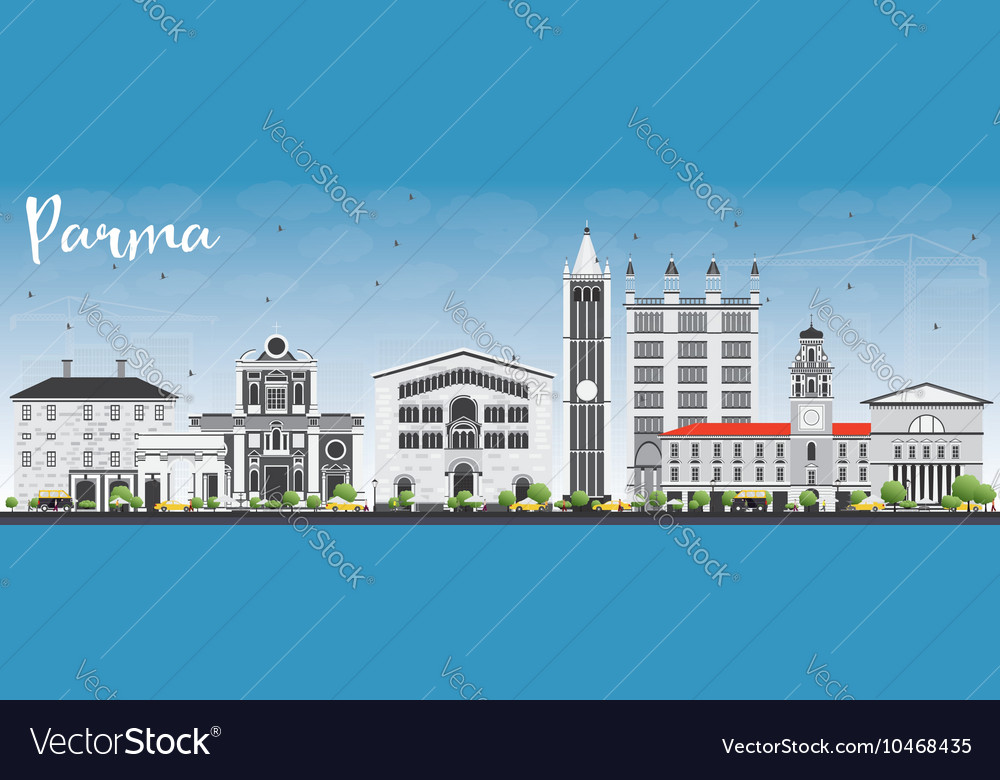 Parma Skyline with Gray Buildings and Blue Sky vector image