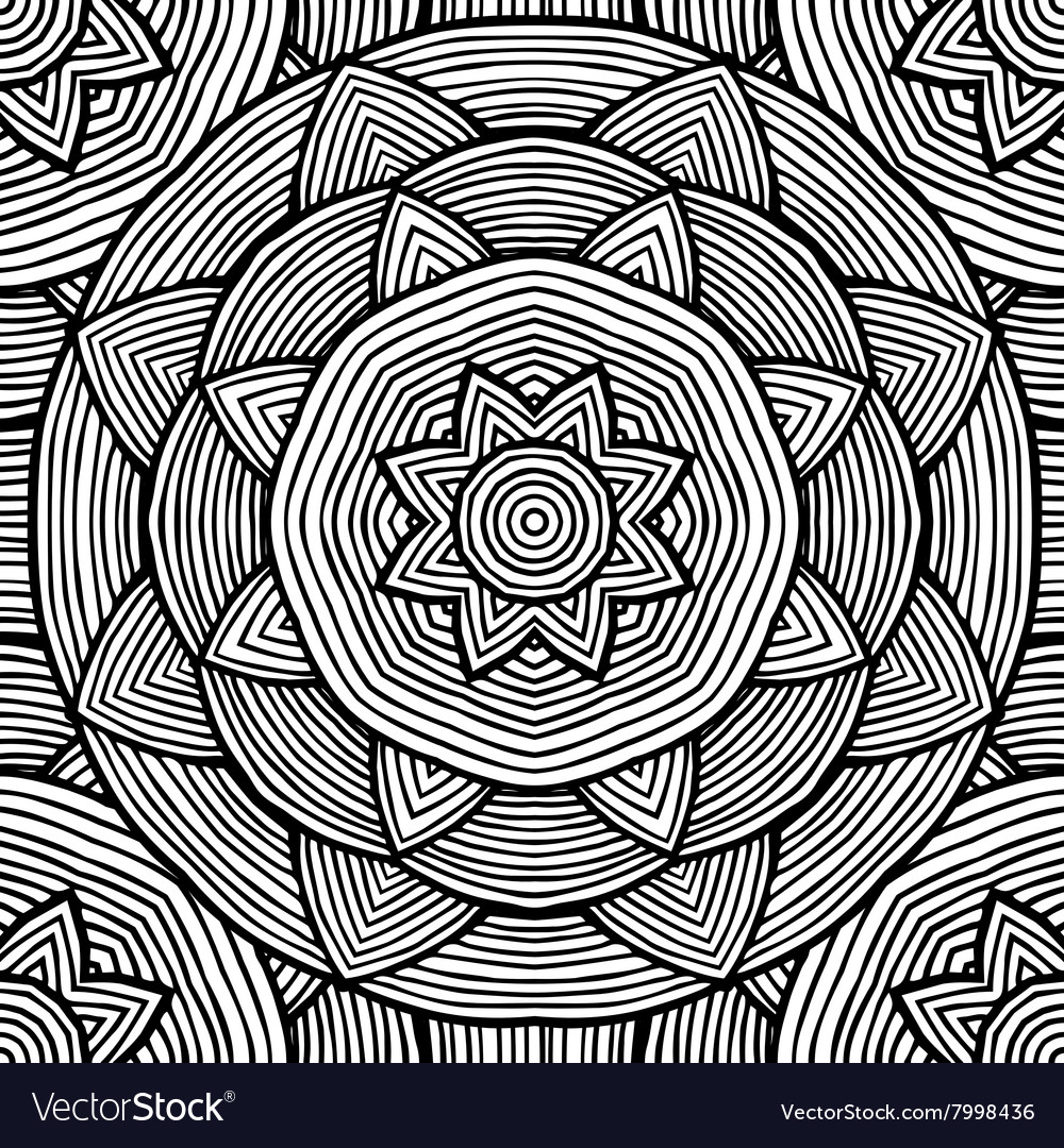 Black and white ethnic pattern for coloring vector image