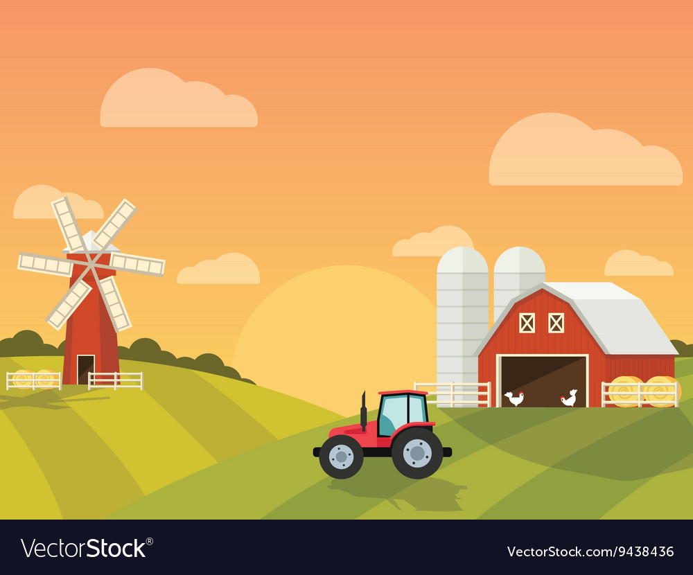 Farm with a mill and tractor in the green hills vector image
