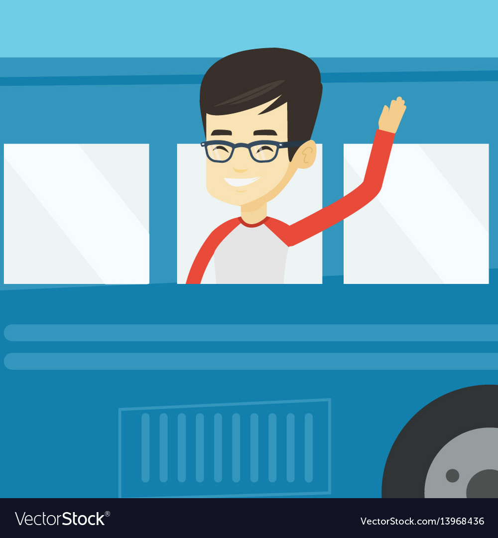 Man waving hand from bus window vector image