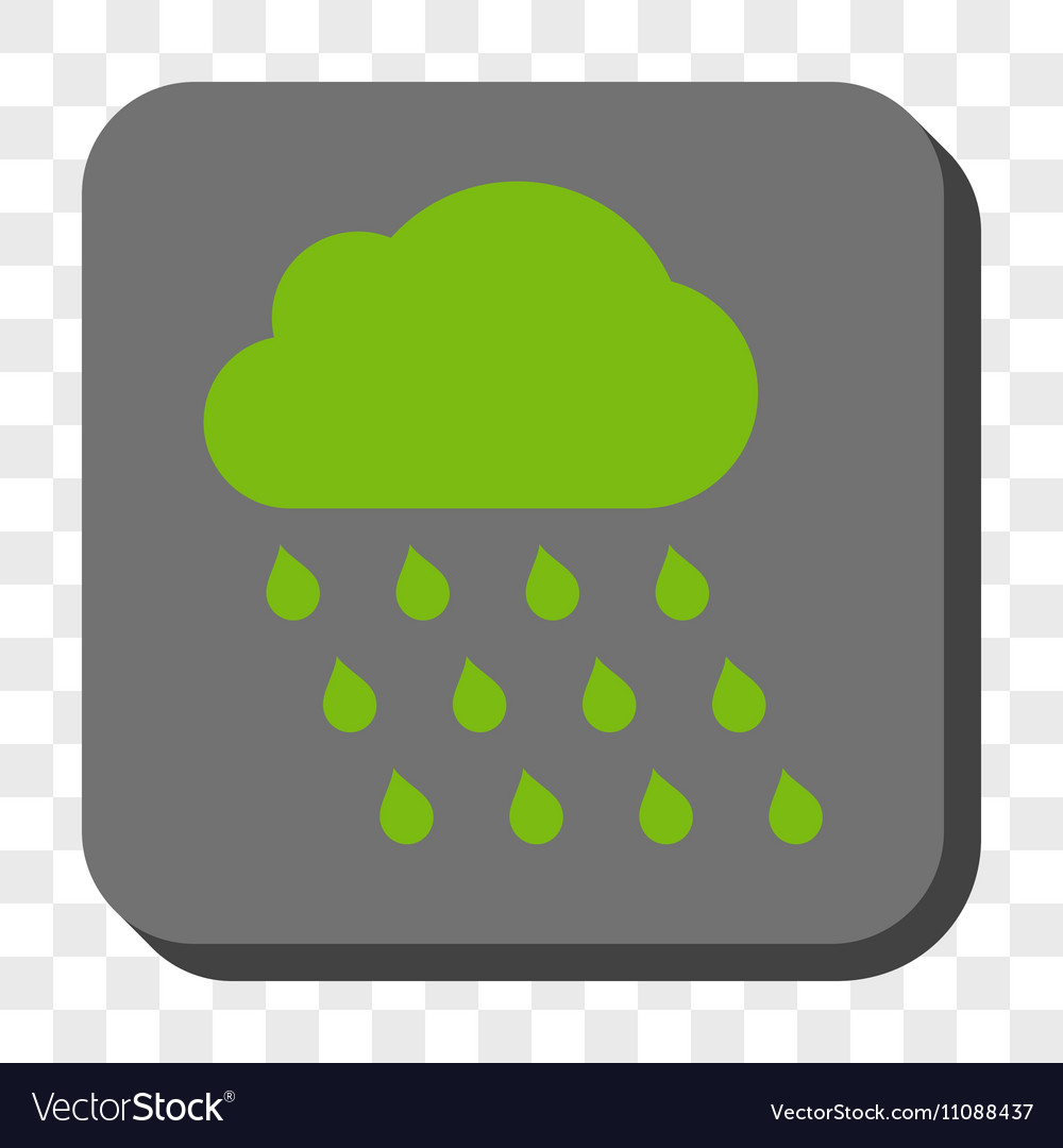 Rain Cloud Rounded Square Button vector image