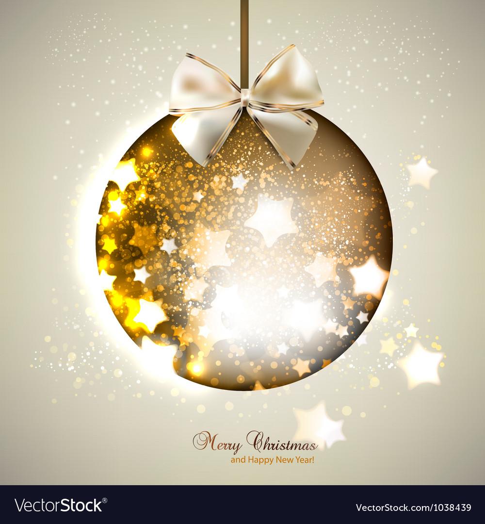 Elegant shiny christmas ball with ribbon Christmas vector image
