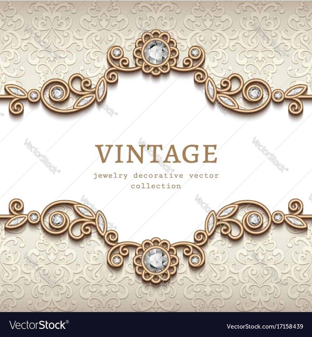 Vintage jewellery card with flourish decoration vector image