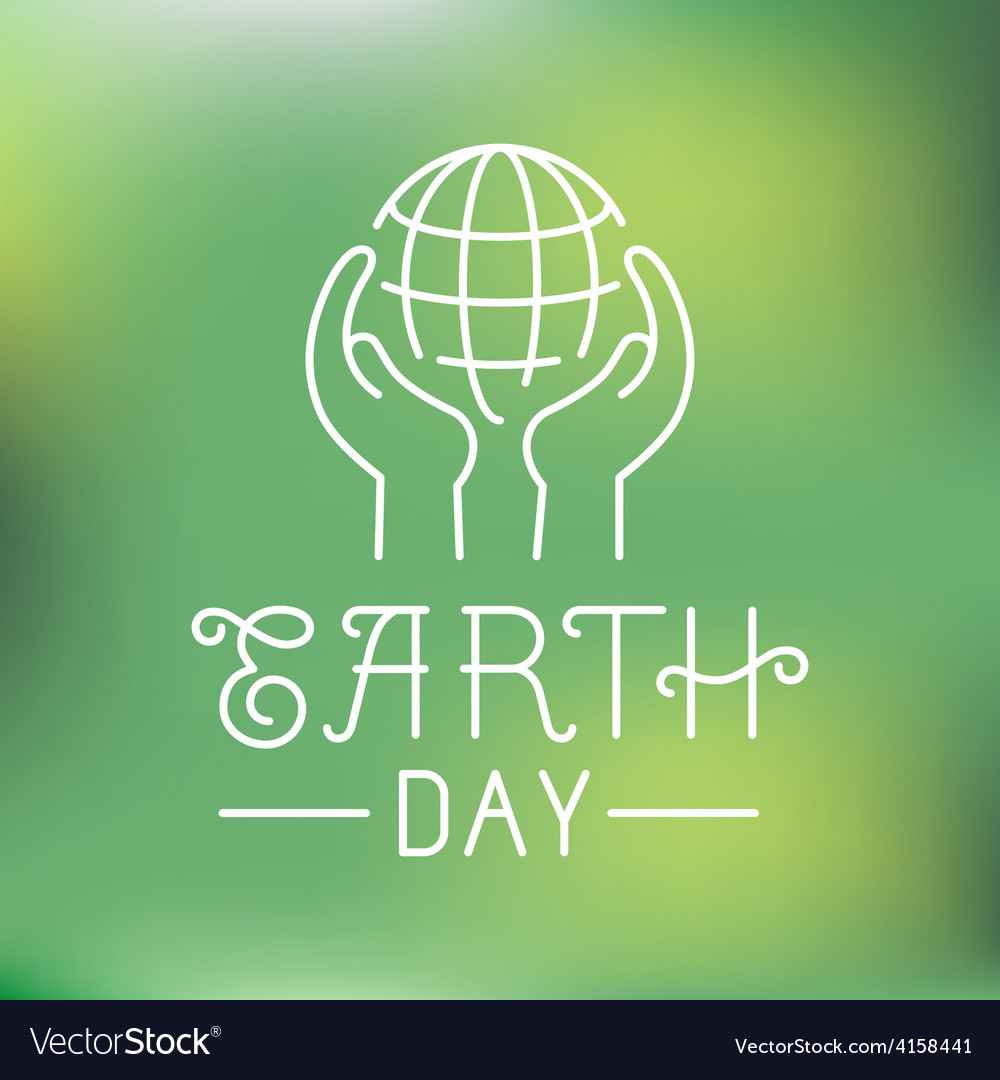 Earth day logo in linear style vector image