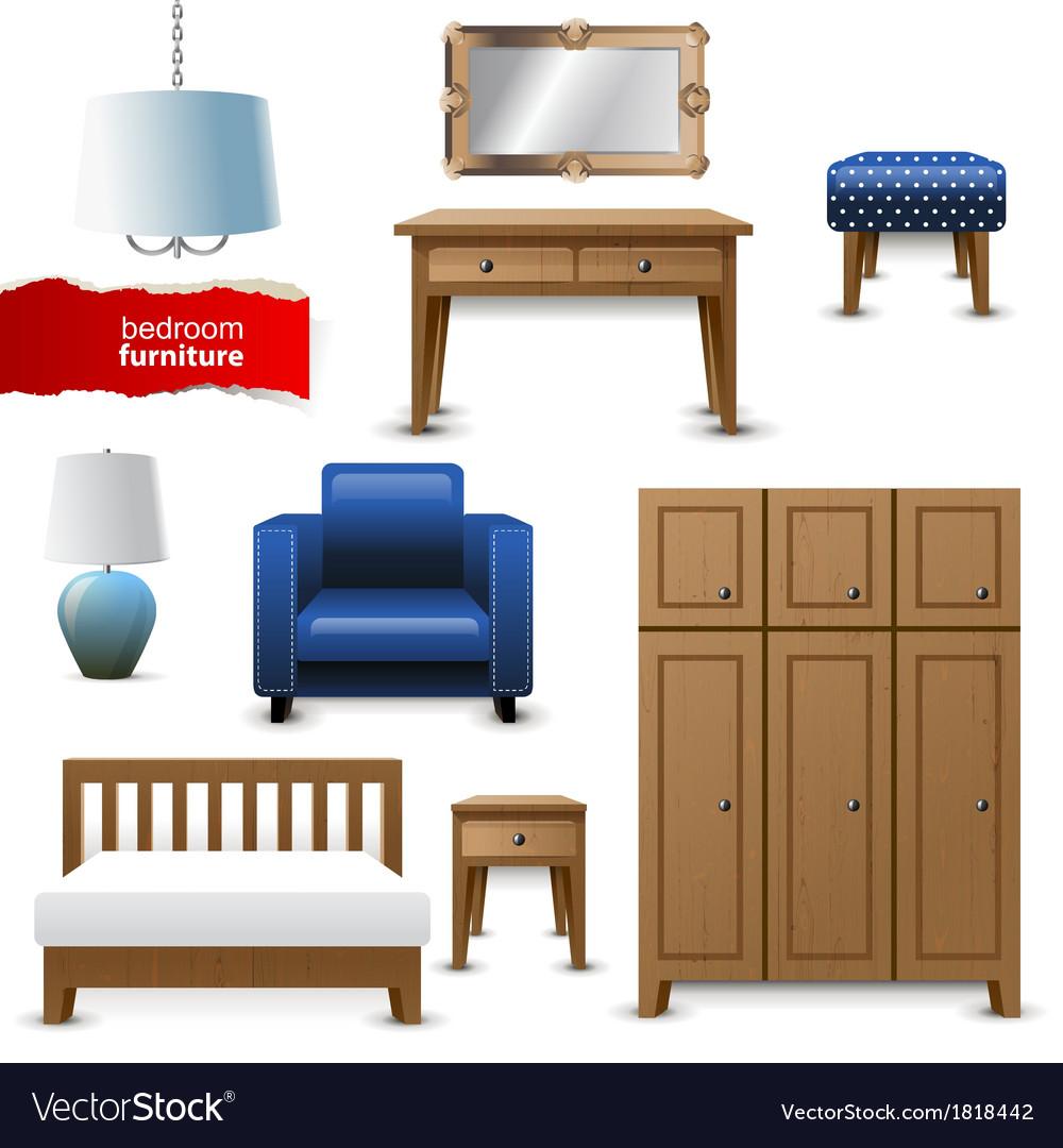 Bedroom furniture vector image