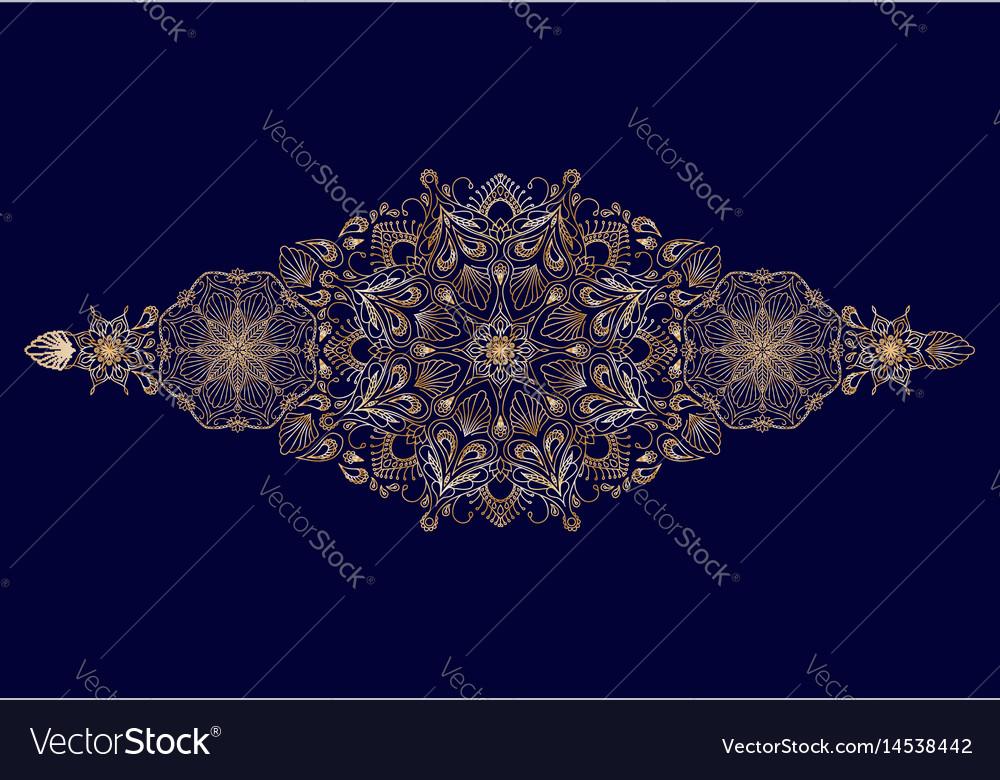 Decorative golden floral mandala border element vector image