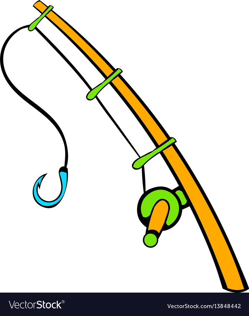 Fishing rod icon icon cartoon vector image
