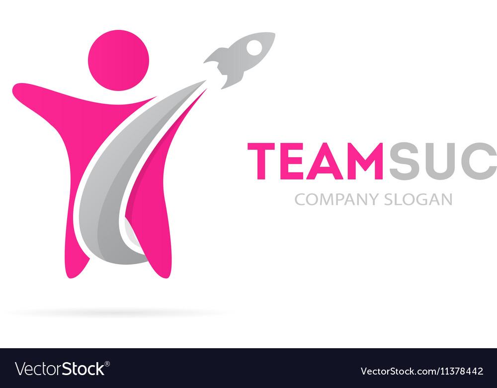 Rocket and man logo combination vector image