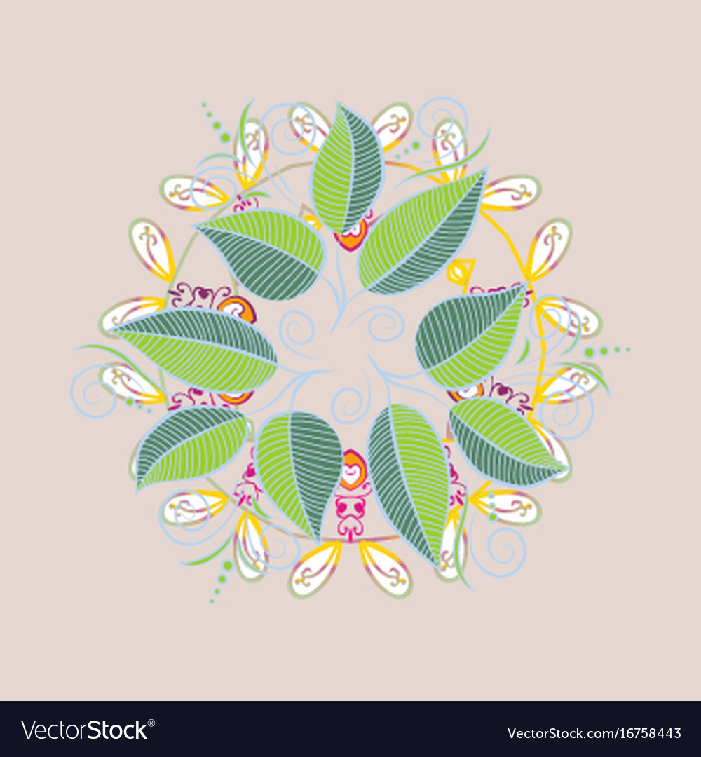 Beautiful watercolor leaves bright painting vector image