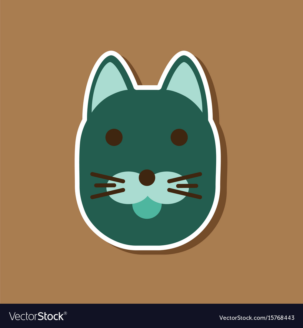 Paper sticker on stylish background cartoon cat vector image