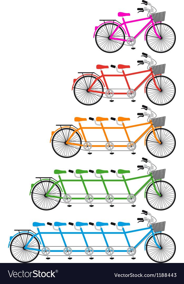 Tandem team bikes bicycle set vector image