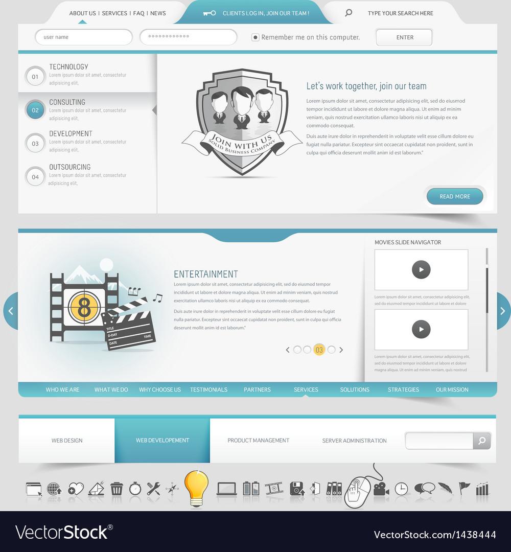 Web site template navigation elements vector image