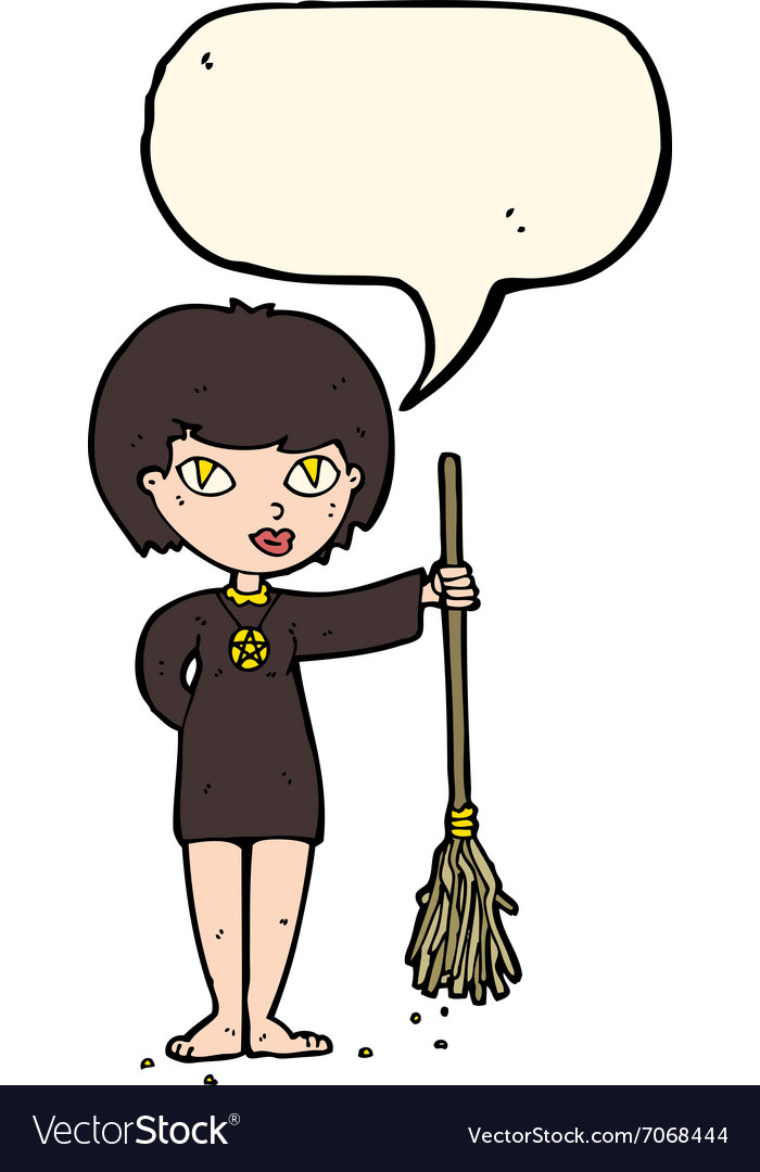 cartoon pretty witch girl with speech bubble vector image