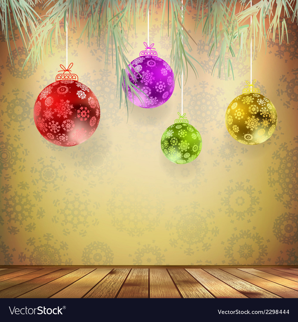 Christmas card with wood interior EPS 10 vector image