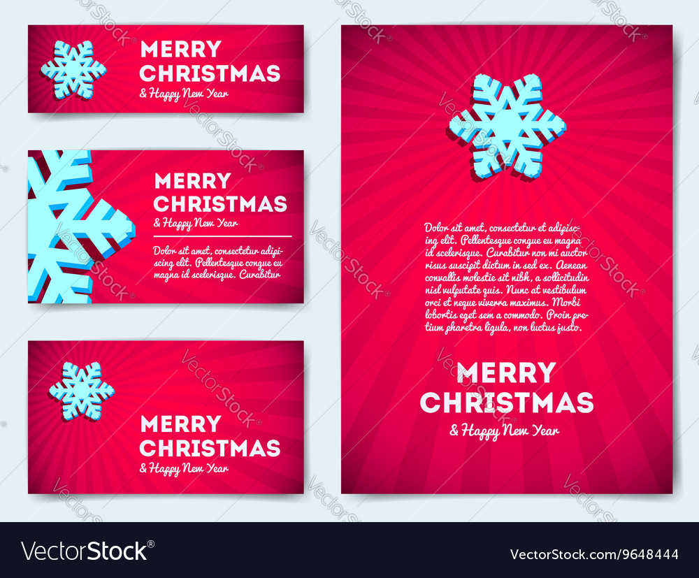 Collection of Christmas banners with snowflake vector image