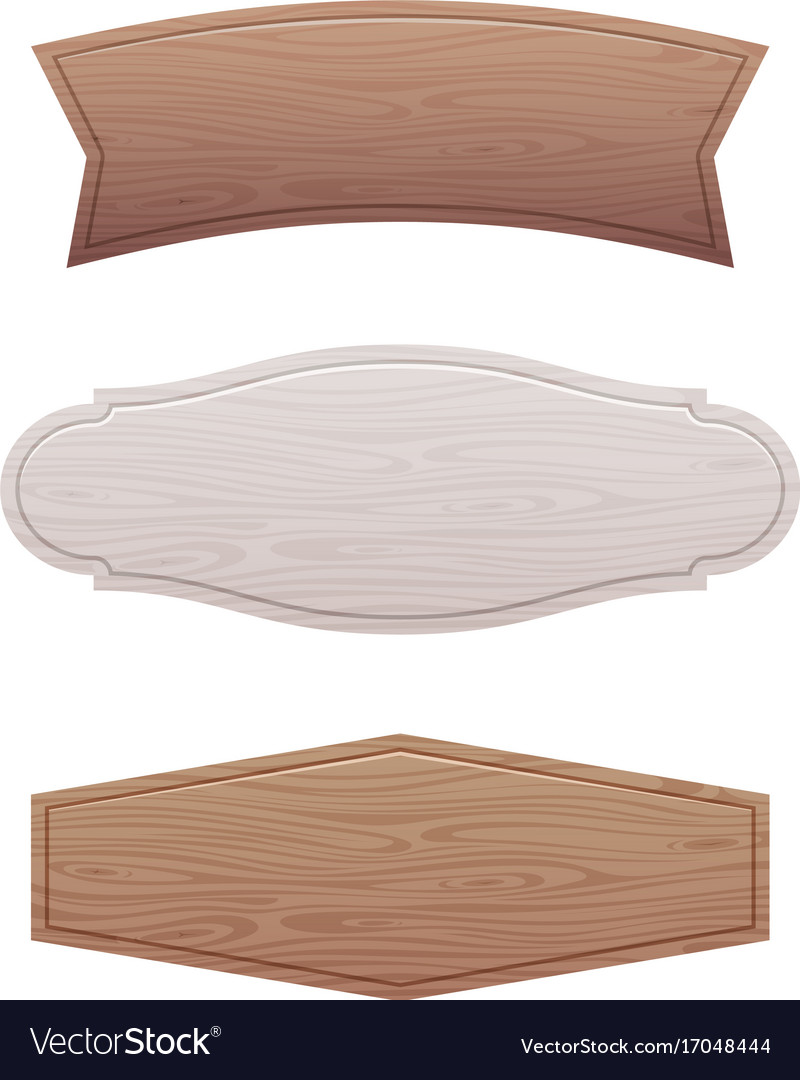 Set of empty wooden signboard vector image