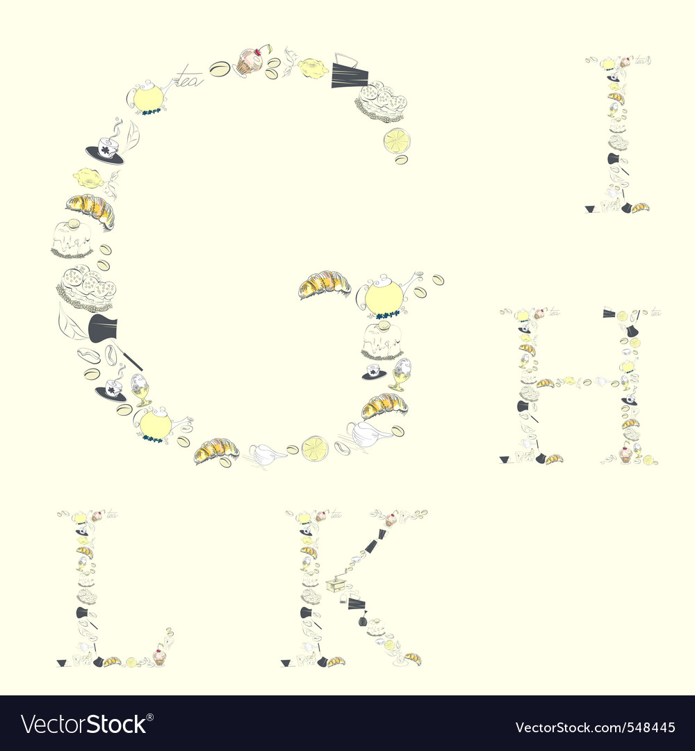 Decorative font with food element letters g h k l vector image