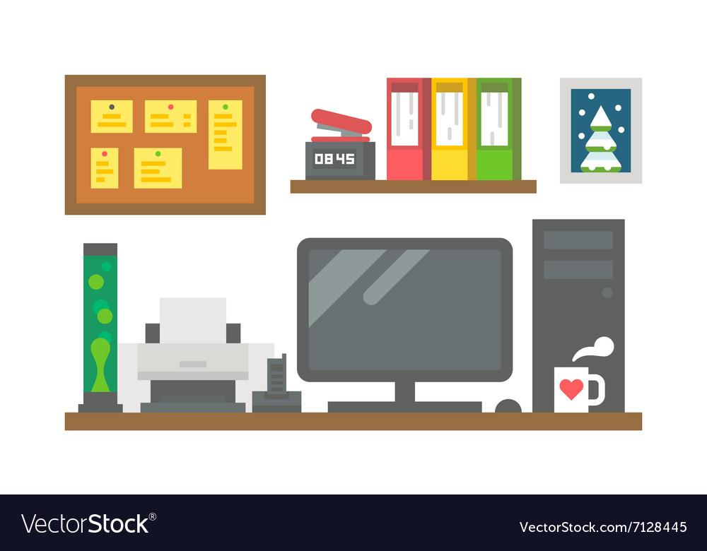 Flat design working desk decor vector image