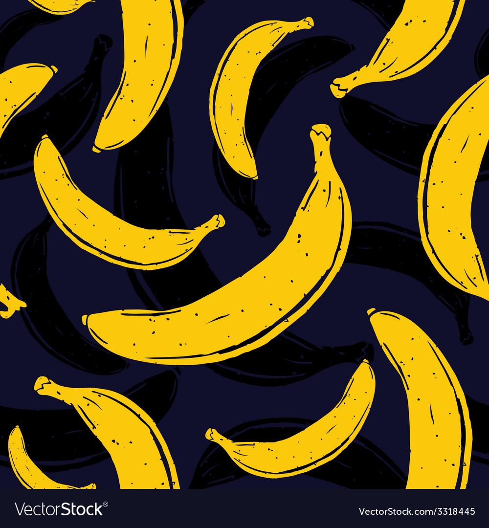 Pop art banana seamless pattern vector image