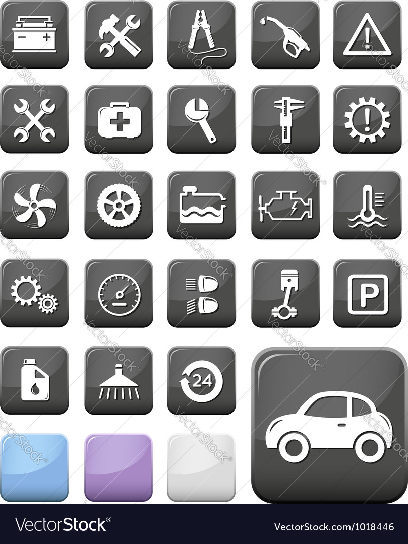 Auto mechanic and service buttons vector image