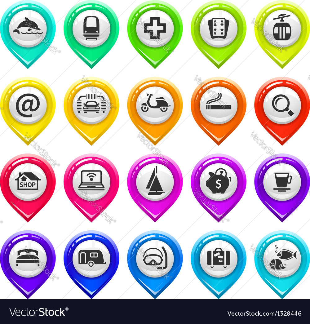 Map marker with icons-set four vector image