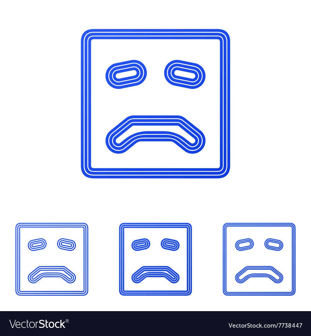 Blue line sad logo design set