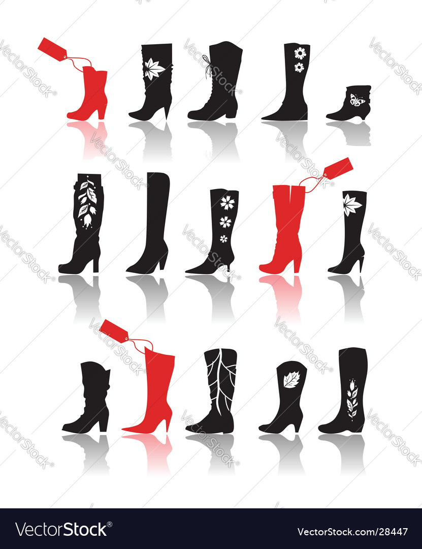 Shoes silhouette collection vector image