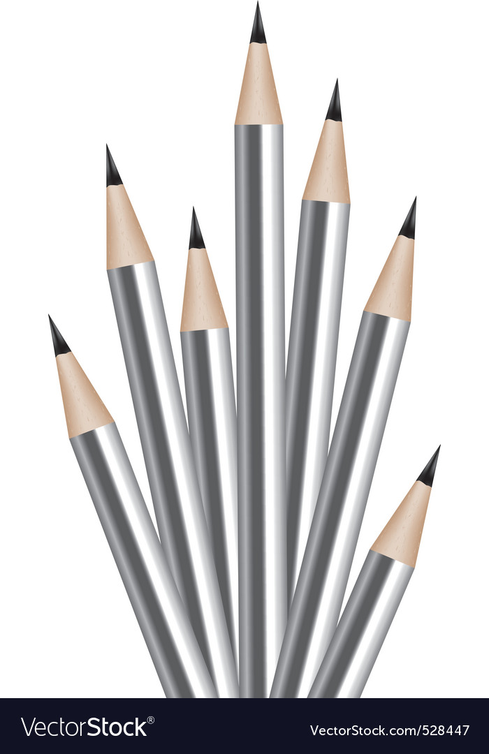 Vector silver lead pencils vector image