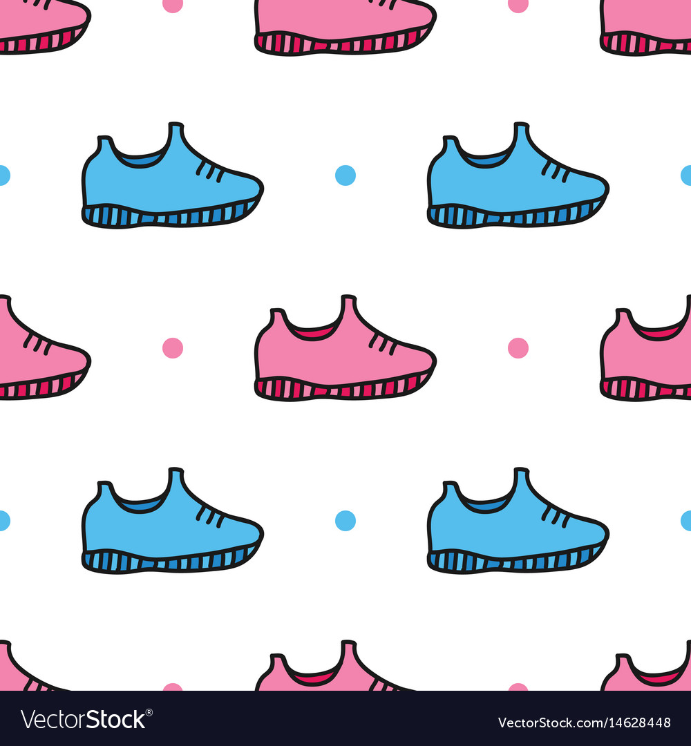 Doodle sneakers shoes and dots seamless pattern vector image