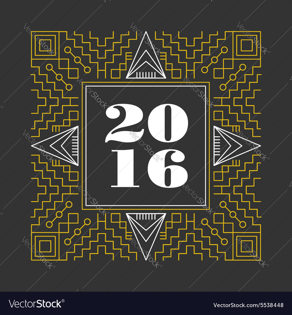 New Year 2016 retro hispter line monogram vector image