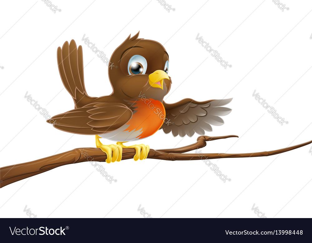 Robin bird on branch pointing vector image