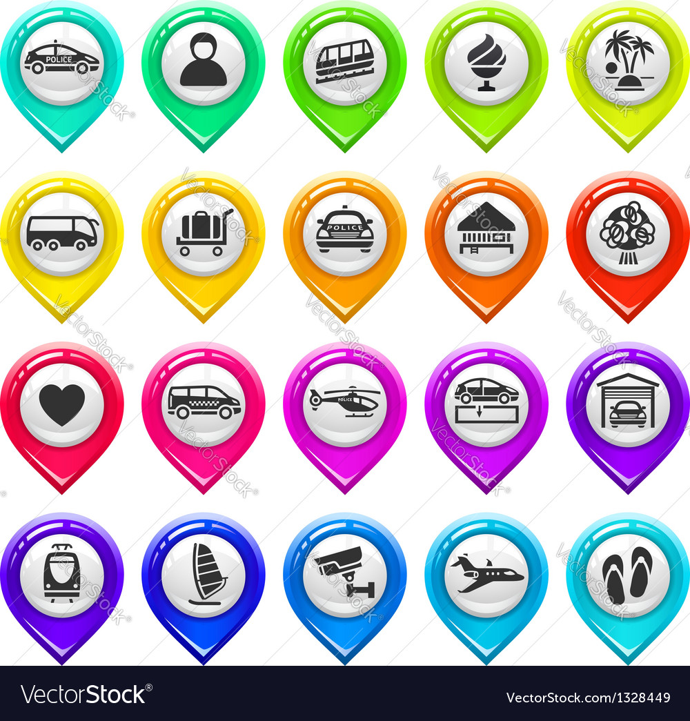 Map marker with icons-set six vector image