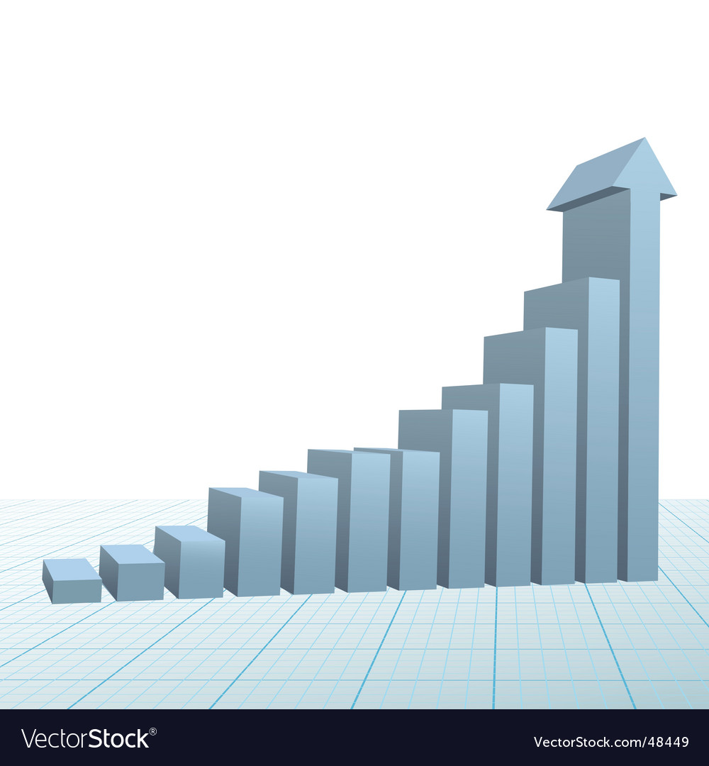 Progress growth bar chart vector image