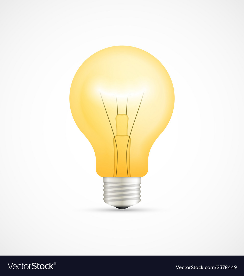 Realistic glowing yellow light bulb vector image