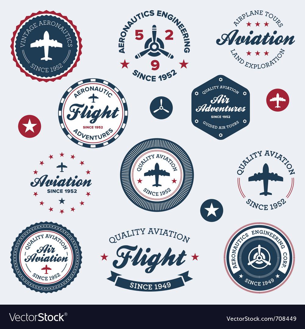 Vintage aeronautics labels vector image