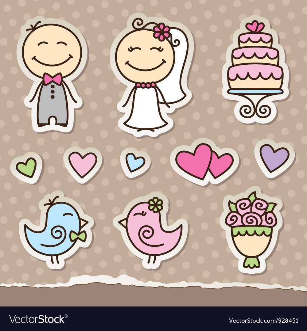 Wedding stickers Royalty Free Vector Image - VectorStock