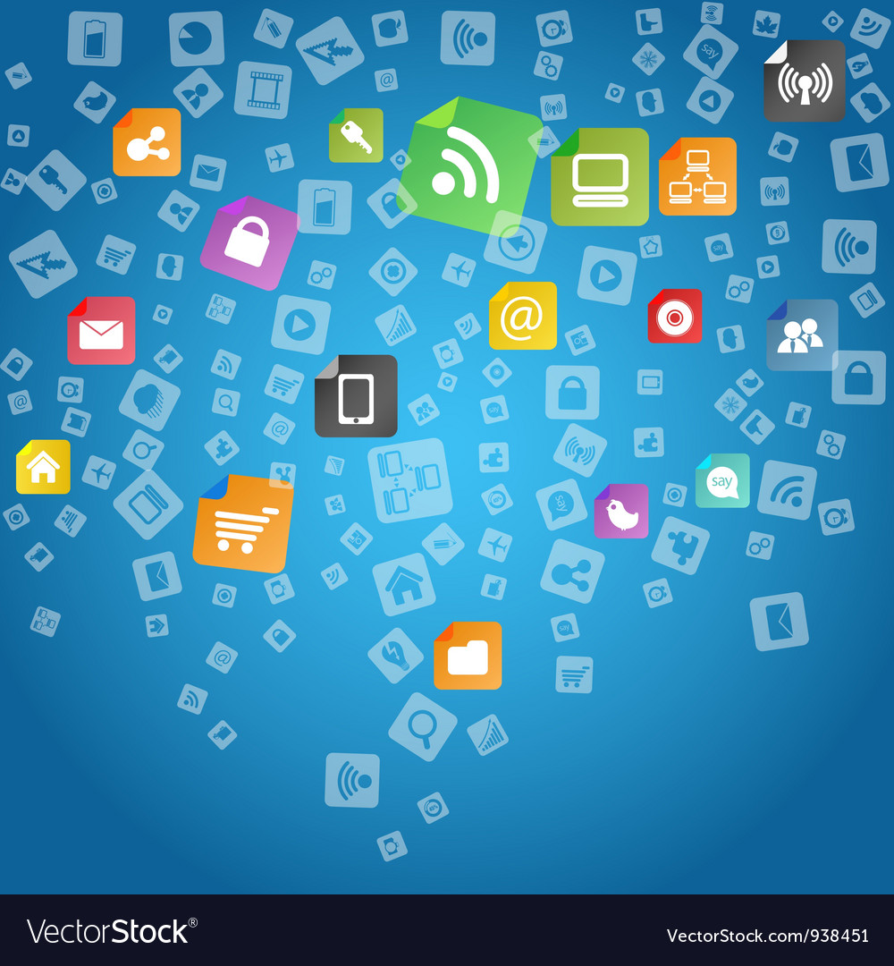 Wallpaper Apps Free: App Icons Background Royalty Free Vector Image