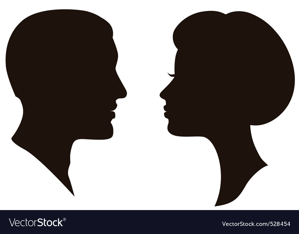 Man and woman faces vector profiles vector image